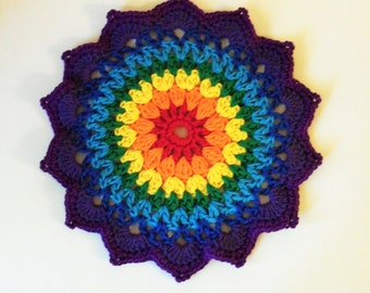 Colorful Mandala Table Mat - Plant Mat - Plant Rug - Colorful Centerpiece