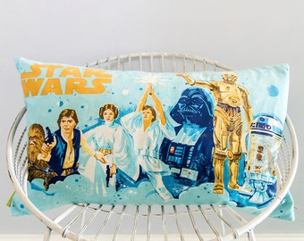 "STAR WARS DAY cushion cover, Upcycled pillow case 70s 1977, light blue, 20"" x 30"" bench sham, Original Vintage Cotton, Eco, Recycled"
