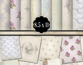 Romantic Papers 8.5 x 11 inch paper pack printable hobby crafting scrapbooking instant download digital collage sheet - VDPAVI1393