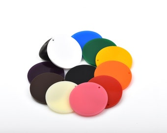 10 OPAQUE Colored CIRCLE Disc Acrylic keychain blanks shapes, Laser Cut key chains, customize pendants; choose size, Lca0315