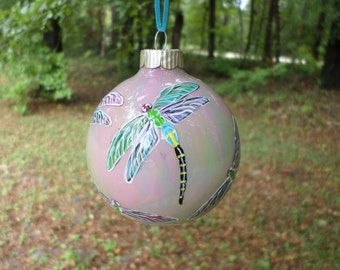 Hand Painted Glass Ornament with Dragonfly swirled pastel rainbow  background no212
