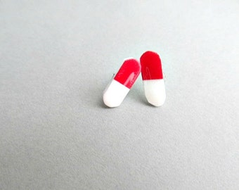 Nurse Red and White Happy Pills Stud Earrings