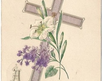 Purple Cross and Lilacs with White Lily Vintage Postcard Easter Greeting 1910s