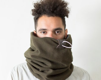 Cowl hood, hooded cowl, Snock®, mens wool scarf lined with thick cotton