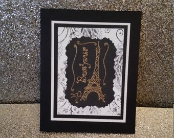 Handcrafted, Handmade, Bonjour mini card, Bonjour, French Card, French Greeting Card, Greeting Card, Hi, Hello, Eiffel Tower