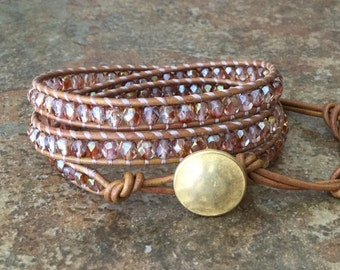 Tan Leather Wrap Bracelet Pink and Gold Triple Leather Wrap