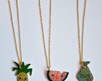 Tiny Fruit Charm Necklaces | 3 Best Friends Necklaces | Cute Necklace Set | Smiling Fruit | Kawaii | Original Drawings