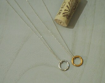Endless Circle Spirit Necklace in Silver or Mixed Silver & Gold