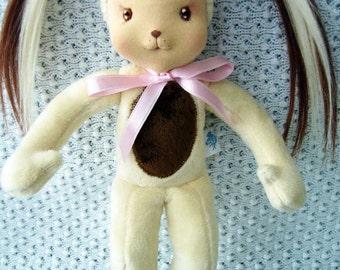 """Waldorf doll, waldorf inspired doll, plush dog,cloth doll, steiner doll, handmade waldorf doll, organic waldorf doll, fabric dog, 12"""""""