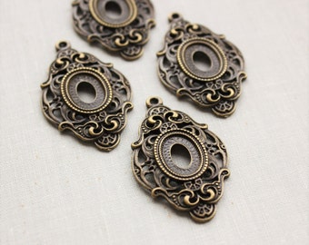 14x10mm cabochon pendant settings in antique bronze