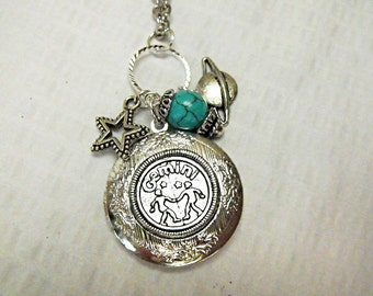 Silver  Locket Necklace,   Zodiac Symbol Gemini  With Turquoise  Bead And Charms Womens Gift  Handmade