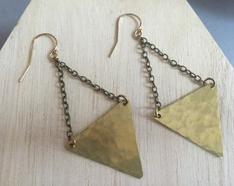 Hammered Brass Triangle Earrings, Elegant, Simple Gold Earrings