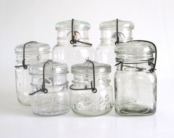 Vintage Glass Lid Canning Jars Wire Bail Closure Quart Half Pint, Ball Ideal, Atlas E-Z Seal, Smalley's Royal, Clear Glass