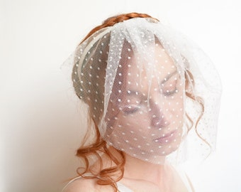 Off white polka dot bridal blusher headband