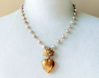Flaming Heart Ex Voto Necklace, French Antique, Religious Assemblage, Reliquary, Relic, Rare Tiny Locket, Freshwater Pearl, Gold Filled