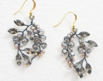 Beaded Crystal Dangle Earrings, Crystal and Bead Earrings, Gunmetal Earrings, Dangle Earrings, Drop Earrings, Beaded Rhinestone Earrings