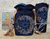 Tarot Bag and Spread Cloth,Made to Order, MIdnight Blue ,Silk Lining, Enneagram,waxing moon,quartz crystal, embroidery, pagan gift