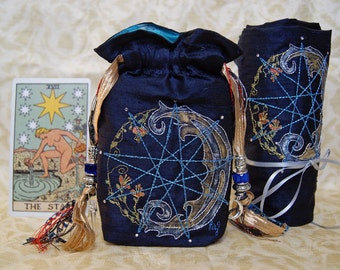 Made to Order Tarot Bag and Spread Cloth, MIdnight Blue ,Silk Lining, Enneagram,waxing moon,with crystals, embroidery, pagan gift