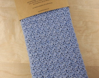 Crochet Hand Towel - 100% Cotton - Blue/Grey