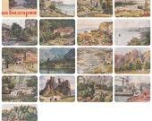 """K. Djakov """"Travelling Bulgaria"""". Complete Set of 16 Vintage Postcards in original cover -- 1964"""