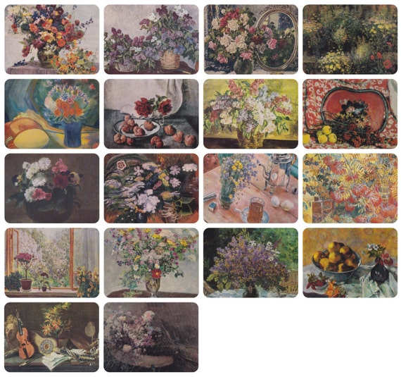 Still Lifes with flowers. Collection / Set of 18 Vintage Prints, Postcards -- 1950s-1980s