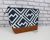 AVA Clutch -Large -Navy Shakes with PU Leather Cosmetic  Diaper bag Travel Make Up Zipper Pouch