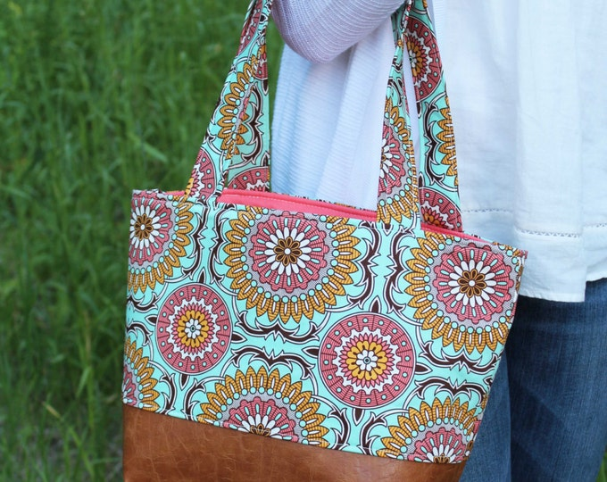 Lulu Medium Tote  Bag Mint Doily and PU Leather with Coral Lining Color- Purse Shoulder Straps 3 pockets Handbag Washable