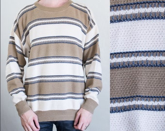 striped knit sweater - L/XL