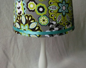 Gray, Blue, and Green Floral Lamp Shade