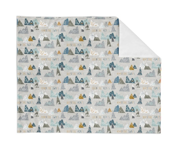 Adventure awaits mountain crib blanket baby blanket minky for Mountain crib bedding