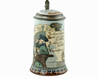 Villeroy and Boch Mettlach Etched Stoneware Stein 2090 with Medallion Inset Pewter Lid and Gnome Thumblift