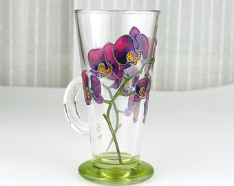 Hand Painted Glass Mug, Purple Orchid Design,  Coffee Mug, Tea Mug, Latte Mug, Painted Glass Mug, Orchid Mug, Glass Mug, Floral Glass Cup