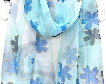 Spring Blue Scarf, Posh Flower Scarf, ETSY, Silk Pastel Scarf, Womens Unique Scarf, Handpainted, Blue Sakura Cherry Blossoms, 14x72 inch