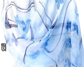 Silk Wrap Scarf Handpainted, Gift for her, Gift for Wife, Silk Scarf Blue, White and Blue Scarf, Blue Sakura Scarf, 22x90 in.