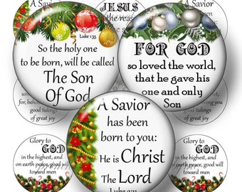 Religious, Christmas, Bottle Cap Images, Digital Collage Sheet, Christian, Jesus, 1 Inch Circle, Instant Download, Bible Verses
