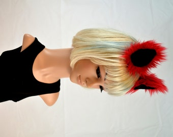 Red Cat Ears Clip On in Faux Fur
