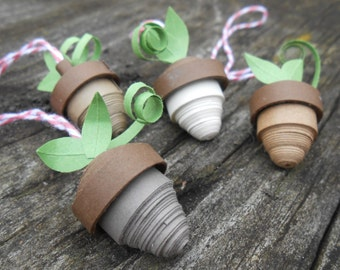 Paper Acorn Decorations. Christmas, Quilled. Gift For Mom, Dad, Men, Women. Tree Decoration