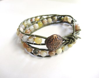 Wrap Bracelet. Leather Double Wrap Bracelet. Moss Agate Wrap Bracelet. Agate Bracelet. Gemstone Wrap Bracelet. Boho Bracelet