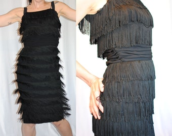 60s fringe flapper style fitted cocktail dance dress