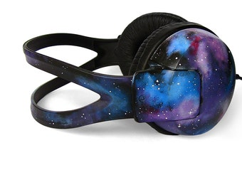 Galaxy Headphones gift for her custom Space Nebula unique birthday gift painted men women best friend gift astronomy earphones sound blue
