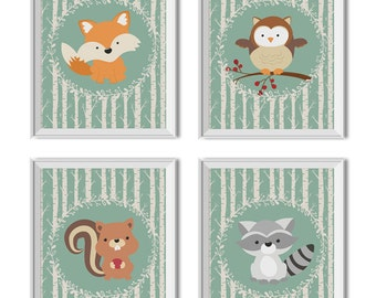 Woodland Animals Nursery Art Boy, Woodland Animals Nursery Decor Boy, Woodland Animals, Fox, Owl, Squirrel, Raccoon, Woodland Animals Prints
