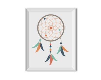 Dream Catcher, Tribal Nursery Decor, Tribal Feathers, Dreamcatcher, Navy, Orange, Mint, Nursery Art, Children's Room Art, Tribal Nursery Art