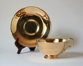 Gold teacup, gold lusterware England, Grimwades Royal Winton, gold lustreware