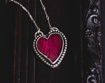Ruby Heart Necklace-Sterling Silver Heart Necklace-Ruby Pendant-Vintage Inspired Heart Necklace-Gothic Jewellery-Gifts for Her