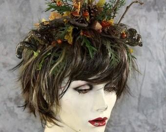 Spring Sale: Male Female Unisex Wood Elf Fairy Full short Wig Headpiece w horns Costume Renaissance  BOHO Larp Cosplay Theater Burning Man
