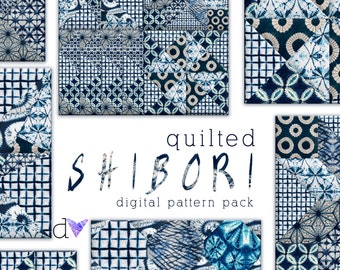 Quilted Shibori Digital Paper Pattern Pack Instant Download