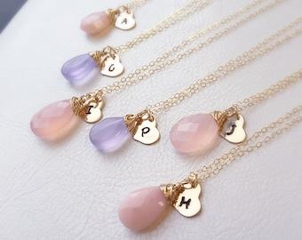 SET OF FOUR Bridesmaid necklaces, bridesmaid gift set, Custom color necklaces, gemstone necklace, wedding jewelry for bridesmaids, bridal