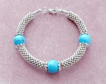 Turquoise Bangle Bracelet Beaded with Silver Mesh