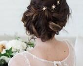 Gold Crystal Hair Pins, Tiny Stars Hair Pins, Small Hair Comb, Crystal Hair Accessories, Vintage Style Hairpiece, Bridal Hair Pin Set