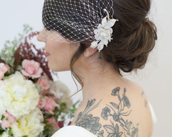 Bridal Veil and Gold Bridal Comb, Silver Bandeau Birdcage Veil, Gold Blusher Bird Cage Veil - QUICK SHIPPER  Gold Crystal Fascinator Comb